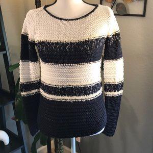 LOFT White and Blue Stripe Sweater